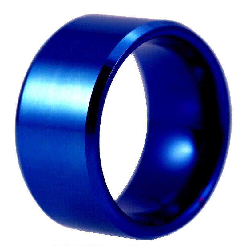 Livraison Gratuite ÉTATS-UNIS ROYAUME-UNI Canada-Russie Brésil Ventes Chaudes 12 MM Bleu Couleur Biseau Confort Hommes de Mode De Tungstène De Mariage anneau