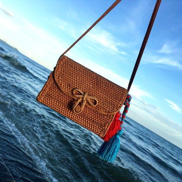 Bali Bohemia Beach Circle Bag Island Hand Woven Bag Square Butterfly buckle Rattan Straw Bags Satchel Wind bag