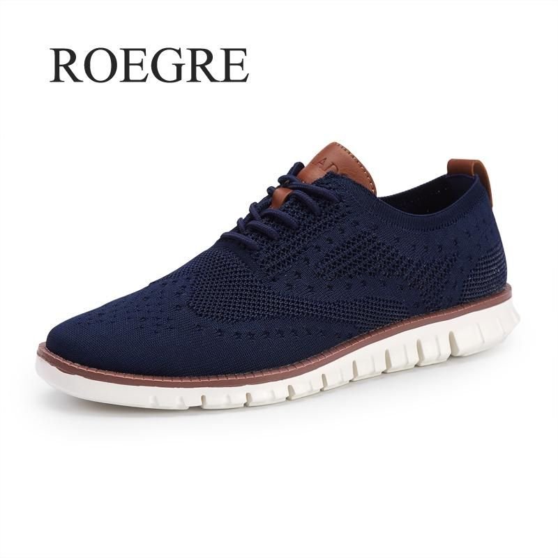 Casual Knitted Mesh Men's Shoes Solid Shallow Lace Up Lightweight Soft Men Sneakers Shoes Breathable Man Footwear Flats 39-46