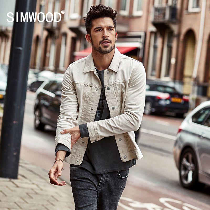 SIMWOOD Denim jacken männer 2018 Frühjahr Neue 100% Baumwolle Slim Fit herren Jean Jacke Mäntel Plus Größe Marke Kleidung NK017001