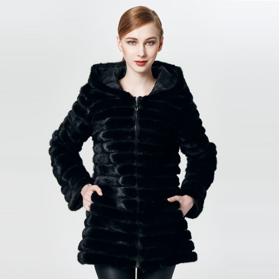 HUANHOU QUEEN real mink fur coat with hood ,mink fur coat for women's warm andfashion slim.