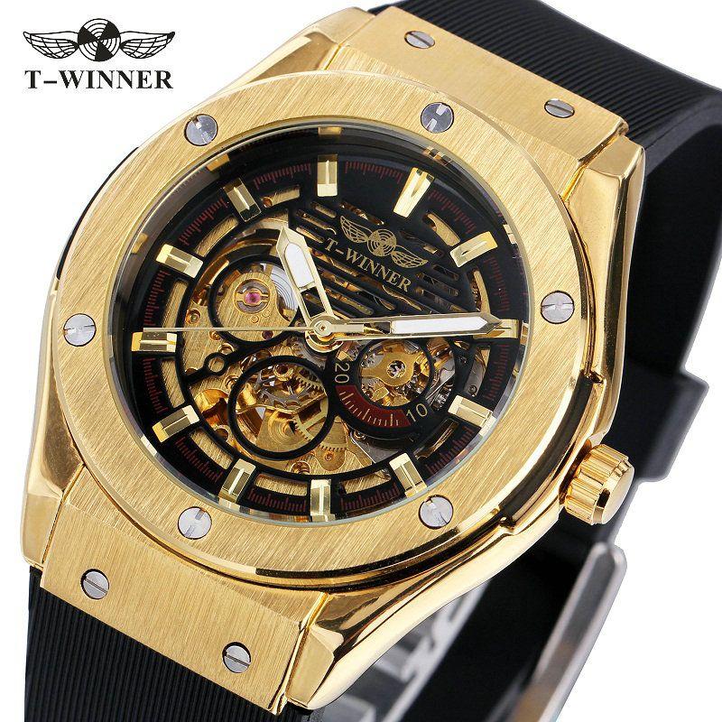 Ganador hombres relojes 3 dial de oro serie de metal marca de lujo superior reloj automático marca de lujo esqueleto mecánico reloj de pulsera Masculino
