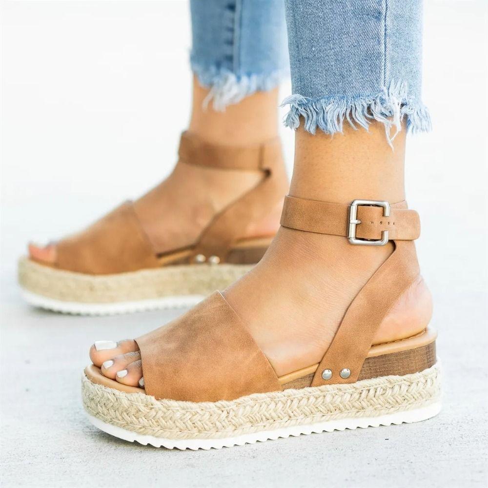 Femmes sandales grande taille Chaussures à semelles compensées pour les femmes talons hauts sandales Chaussures d'été 2019 Flip Flop Chaussures Femme plate-forme sandales