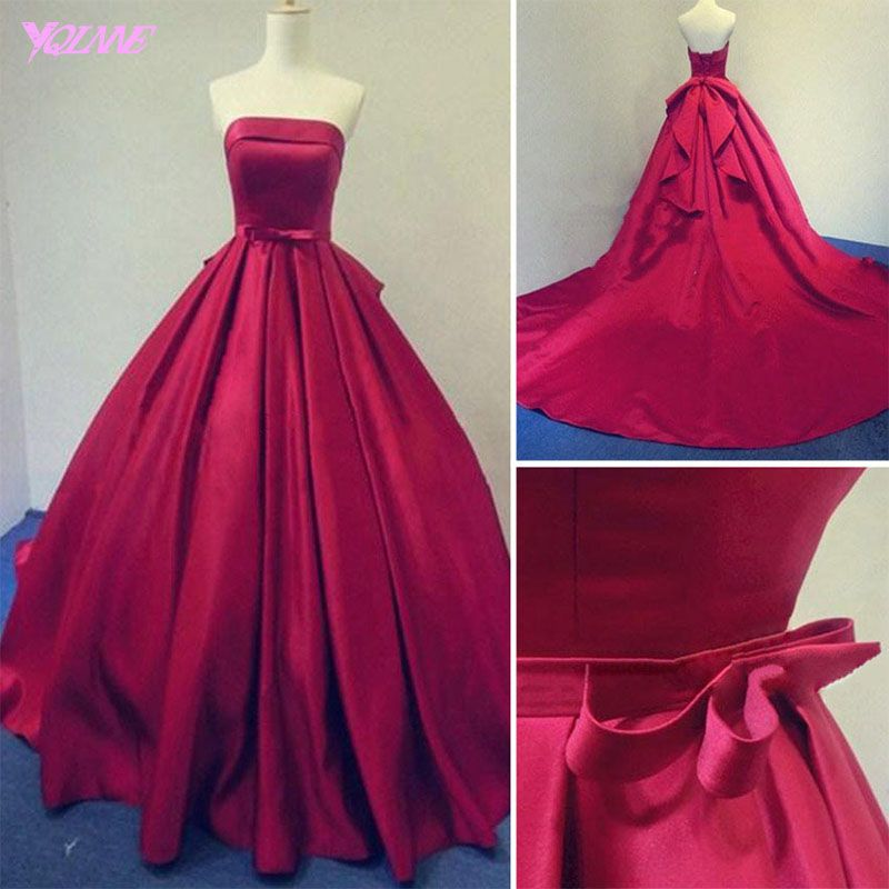 2018 Burgundy Ball Gown Prom Dresses Long Evening Gown Strapless Satin Lace-up Vestido de Baile
