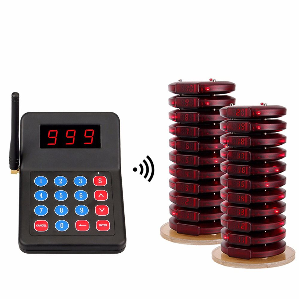 999 kanal Restaurant Pager Wireless Paging-Queuing System Tisch Warteschlange Call Coaster Pager Für Fast-Food Cafe Bar Shop F3356A