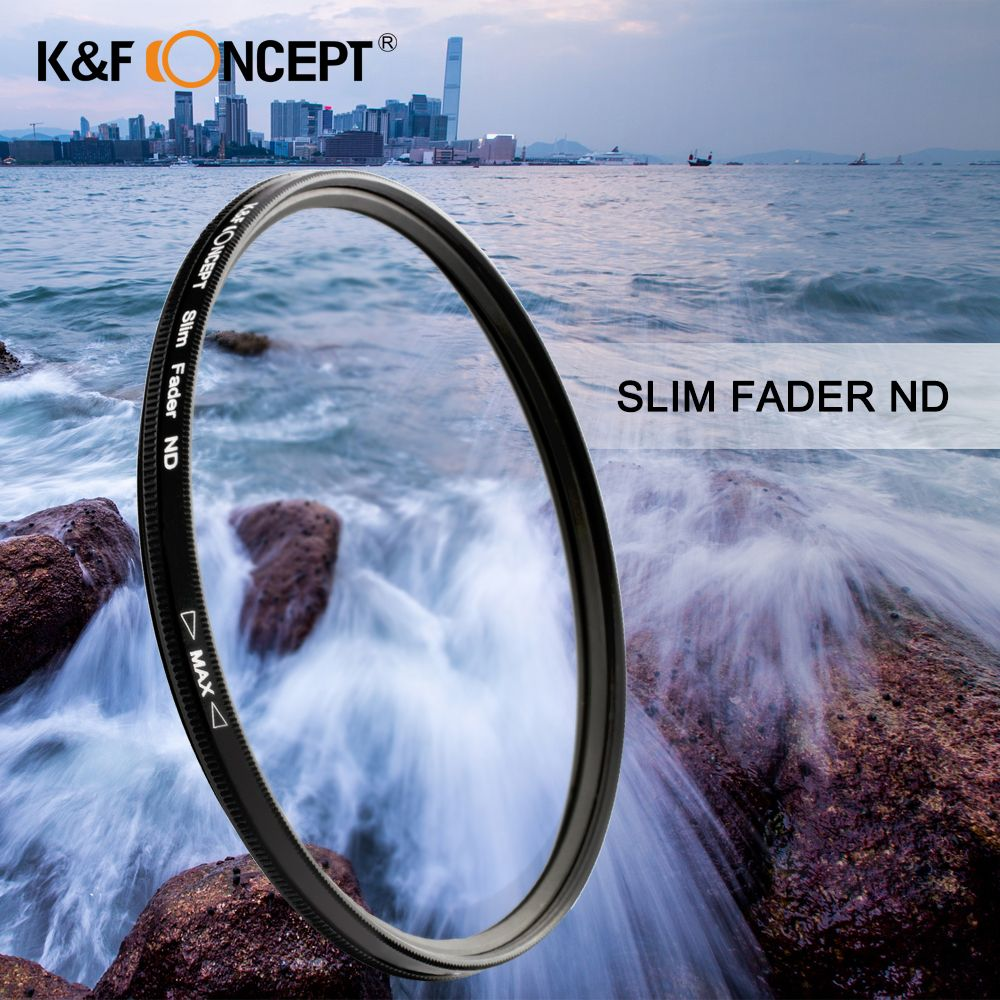 K&F CONCEPT Slim ND2-400 Neutral Density Fader Variable ND Filter Metal Frame Optical Glass Lens Adjustable 52/55/58/67/72/77mm