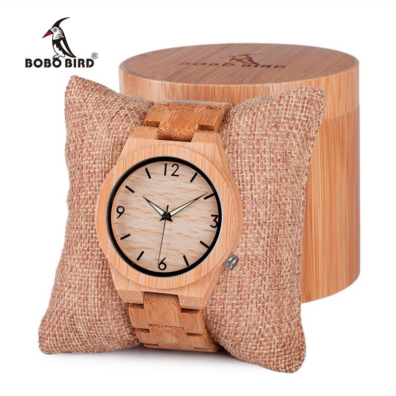 BOBO oiseau hommes montre en bois bambou Quartz hommes montres avec des mains lumineuses avec bande de bambou complet dans la boîte cadeau montre