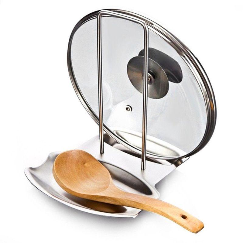 Acier inoxydable Pan Pot Rack Couvercle Couvercle Reste Stand Cuillère Titulaire Accueil Applicance Les Marchandises Pour Accessoires de Cuisine