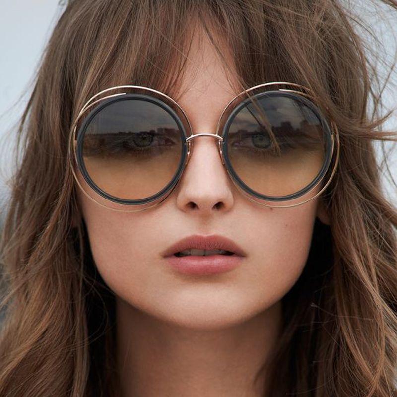 Carlina Surdimensionné Ronde lunettes de Soleil Femmes Marque Designer Lunettes de Soleil Femelle Qualité Dames Nuances Miroir lunette T829