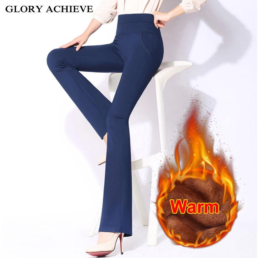 High Waist Pants Women New Fashion 2018 Winter Warm Office Lady Flare Pants <font><b>Trousers</b></font> Work Pants Long <font><b>Trousers</b></font> Female Plus Size