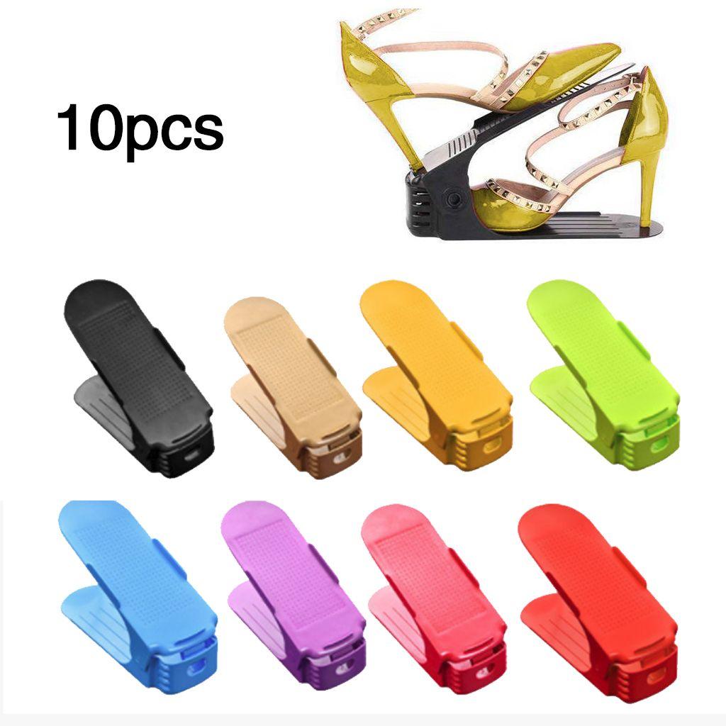 10pcs 6pcs 2pcs Durable Adjustable Shoe Organizer Footwear Support Storage Shoe Rack Stand Space Saving Cabinet Closet Stand