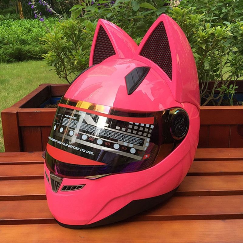 Motorcycle in the summer seasons men and women anti-fog helmet's cross-country car horns fashion cat ears helmet