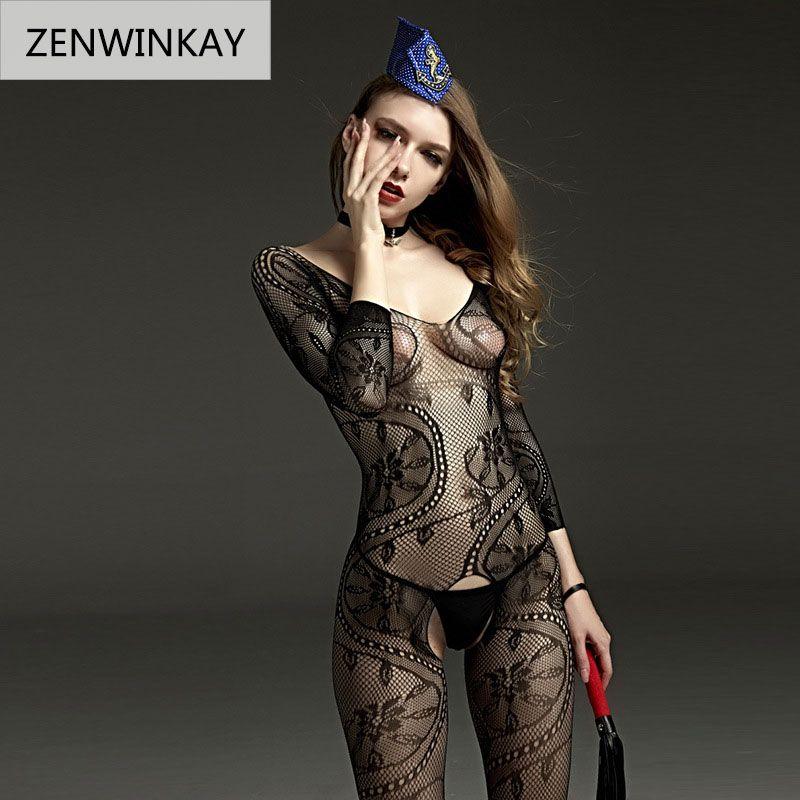 2018 Femelle Noir Sexy Porno Costumes Robe Fantaisie Jouet Filet Sous-Vêtements Bas Érotique Lingerie de Nuit Des Femmes Teddy Lingerie