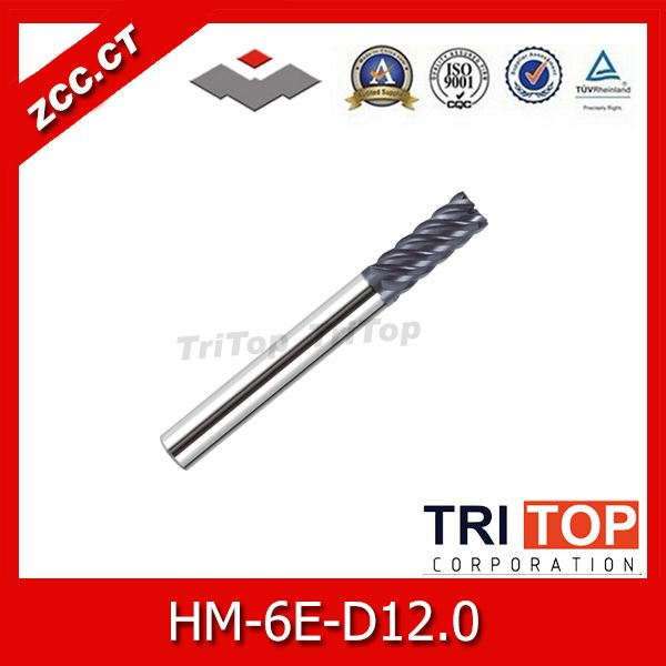 high-hardness steel machining series 68HRC ZCC.CT HM/HMX-6E-D12.0 Solid carbide 6-flute flattened end mills with straight shank