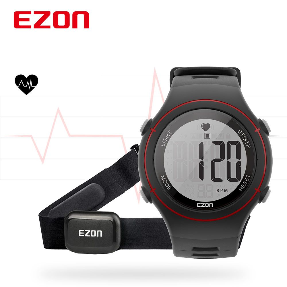 New EZON T037 Men Women Sports Wristwatch Digital Heart Rate Monitor Outdoor Running Watch Alarm Chronograph with Chest Strap