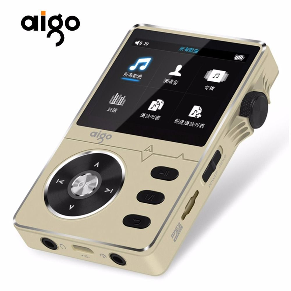Aigo 108 Zinc Alloy HiFi High Quality Sound Lossless Music 2.2 Inches 8GB MP3 Player Support 32GB TF Card with Color Screen