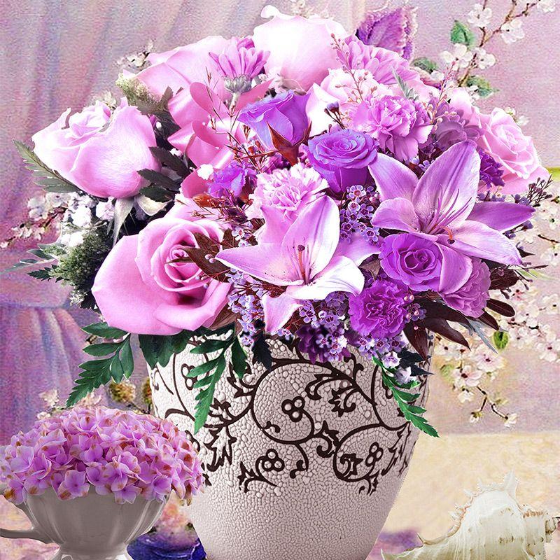 5D алмаз вышивка мозаика фиолетовый цветок поделки алмазов картина рукоделие красивая sementes-де-флорес холст украшение дома
