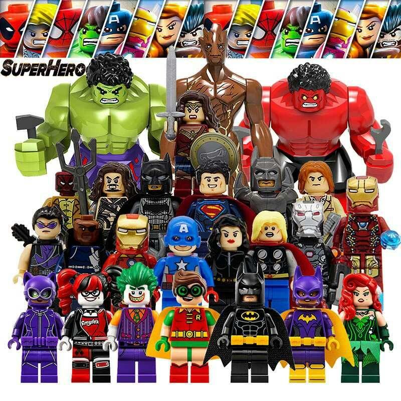Avengers LegoINGlys Marvel DC Super Hero Spiderman Building Blocks Compatible with LegoINGly Batman Models Set Toy for Children