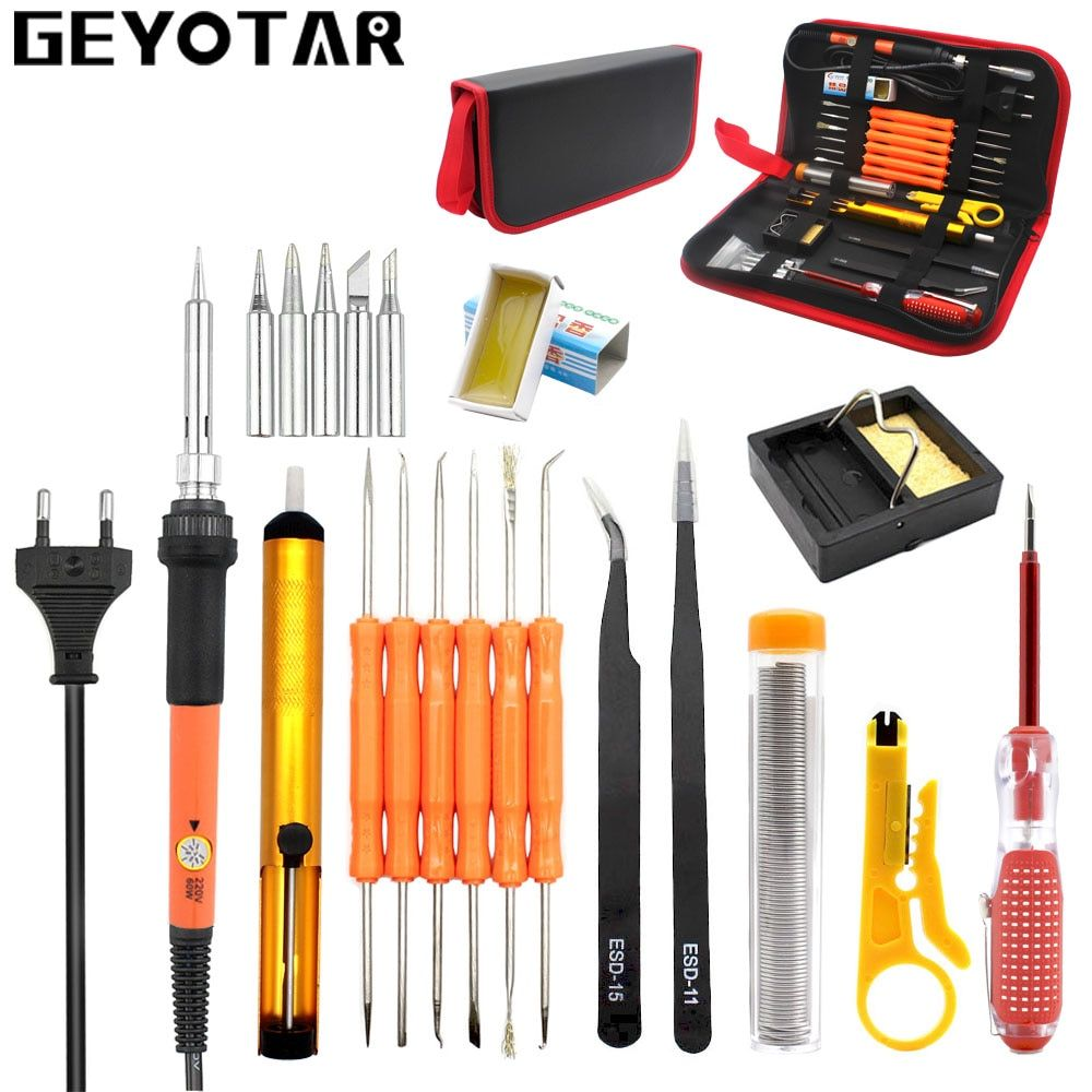 GEYOTAR EU 220V 60W Thermoregulator Soldering Iron Kit Desoldering Pump Tin Wire Tweezers Welding Repair Tools with Storage Bag