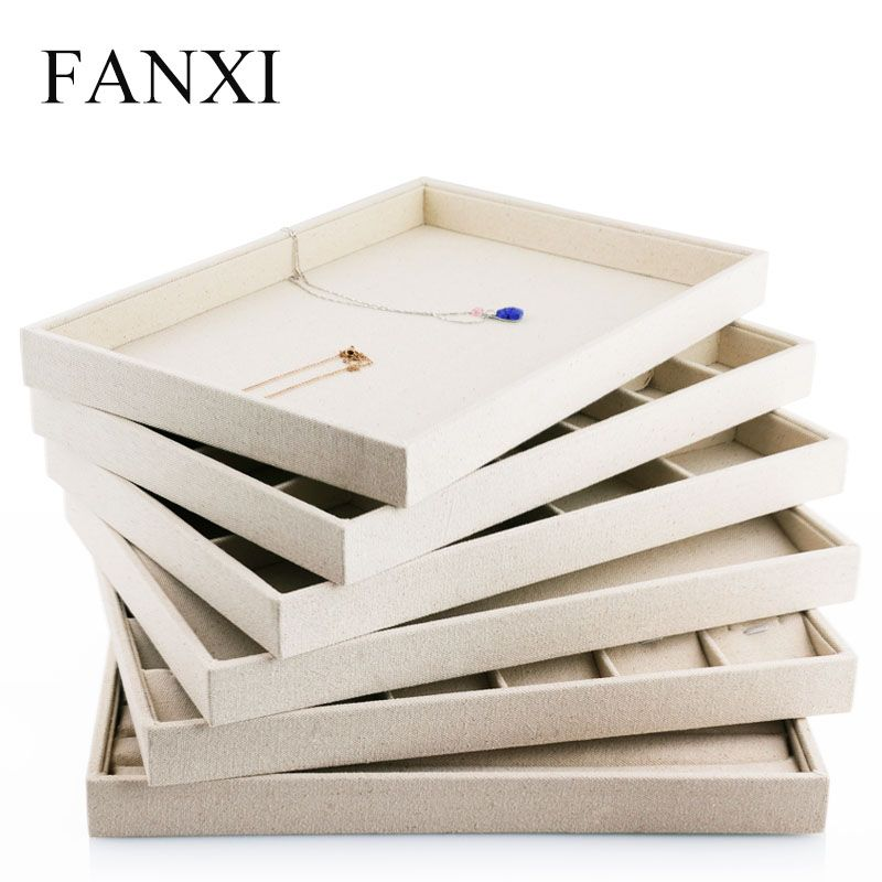 FANXI Free Shipping Exquisite Stackable Beige Linen Jewelry Display Tray Ring Necklace Earrings Bracelet Collection Holder