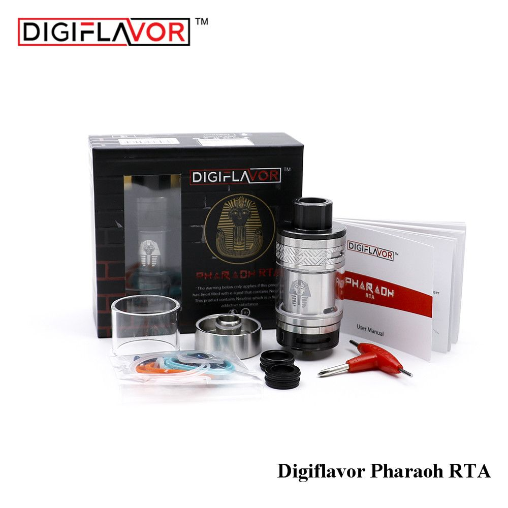 Original Digiflavor Faraón RTA Atomizador E-cig 4.6 ml Tanque Vape vapor rebuilable control de flujo de aire de 25mm de BRICOLAJE con tubo de vidrio