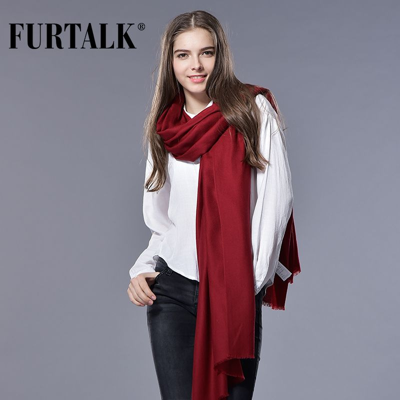 FURTALK Women Spring Winter Wool Scarf Luxury Brand Long Women Scarf Female Pashmina Bandana Long Wool Shawls and Scarves