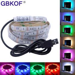 USB LED Strip 5050 3528 RGB TV Background Lighting Kit Cuttable with 17Key RF Controller or Mini 3Key Controller ,50CM/1M/2M Set