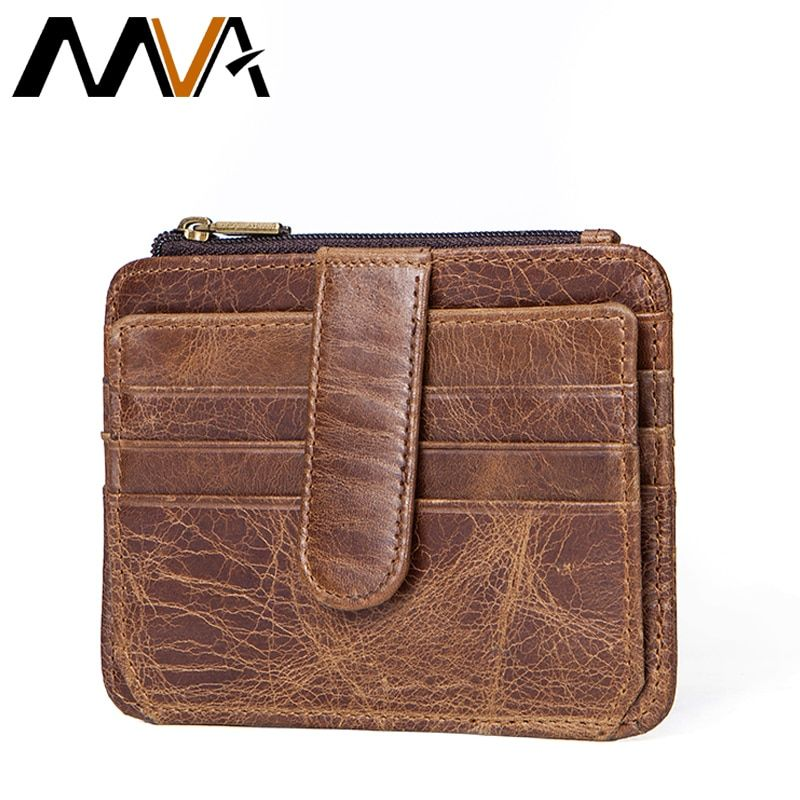 MVA Coin Purse Men Small Genuine Leather Wallet Mini Male Purse Brand Business id & Credit Card Holders Men Wallets Purses