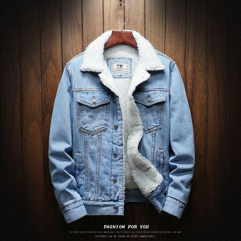 Hommes bleu clair hiver Jean veste matelassée chaud Denim manteaux nouveaux hommes grande taille laine Liner plus épais hiver Denim vestes taille6xl