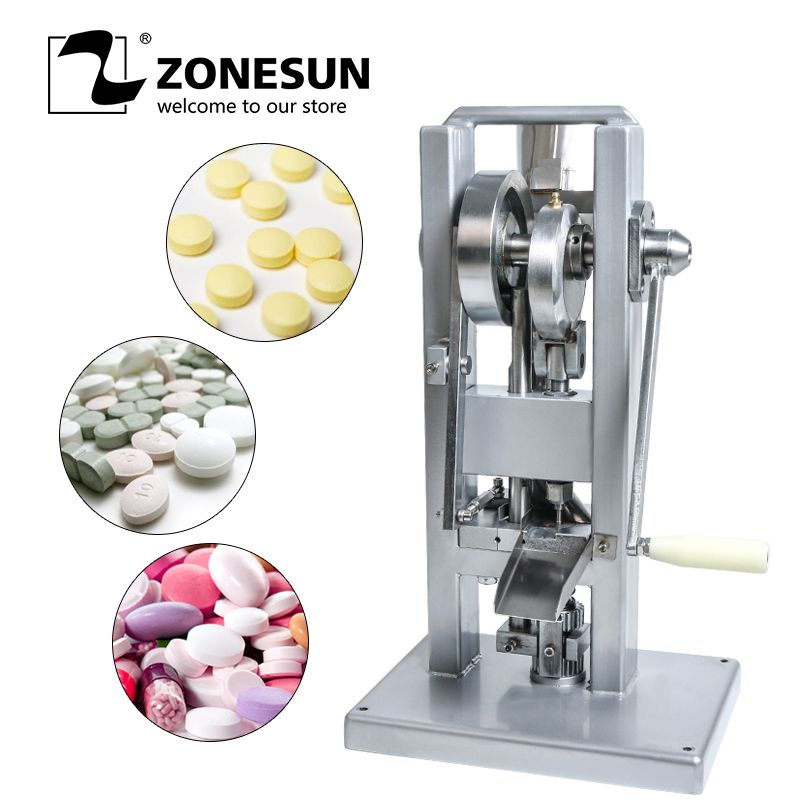 ZONESUN Manual Single Punch Tablet Press Candy Sugar Press Machine (Lightest Type) Tdp-0 Hand-Operated/Mini Type Free Round Die