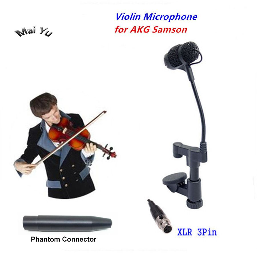 Professional Instrument Violin Microphone Mandolin Viola Mikrofone for AKG Samson Wireless System Transmitter Mini XLR 3Pin