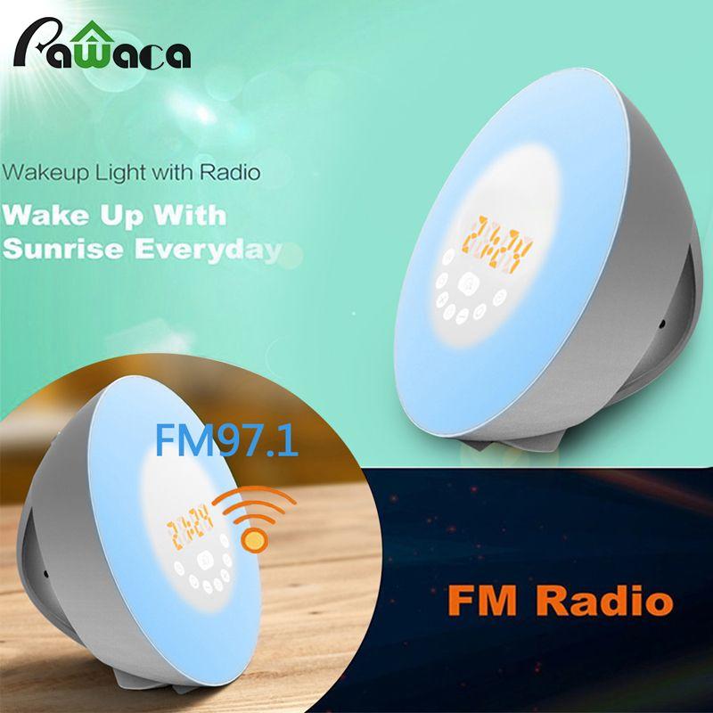 2017 New FM Radio Digital Wecker aufwachen Sunrise Sunset Simulation Touch Farbwechsel Smart Wake-Up Licht Wecker