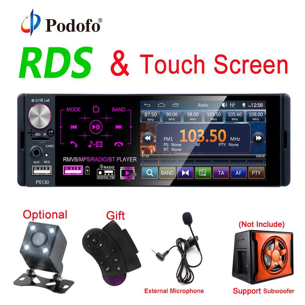 Podofo RDS autoradios 4.1 ecran tactile multimédia lecteur MP5 Auto stéréo Radio Bluetooth Support Micophone et caméra de recul