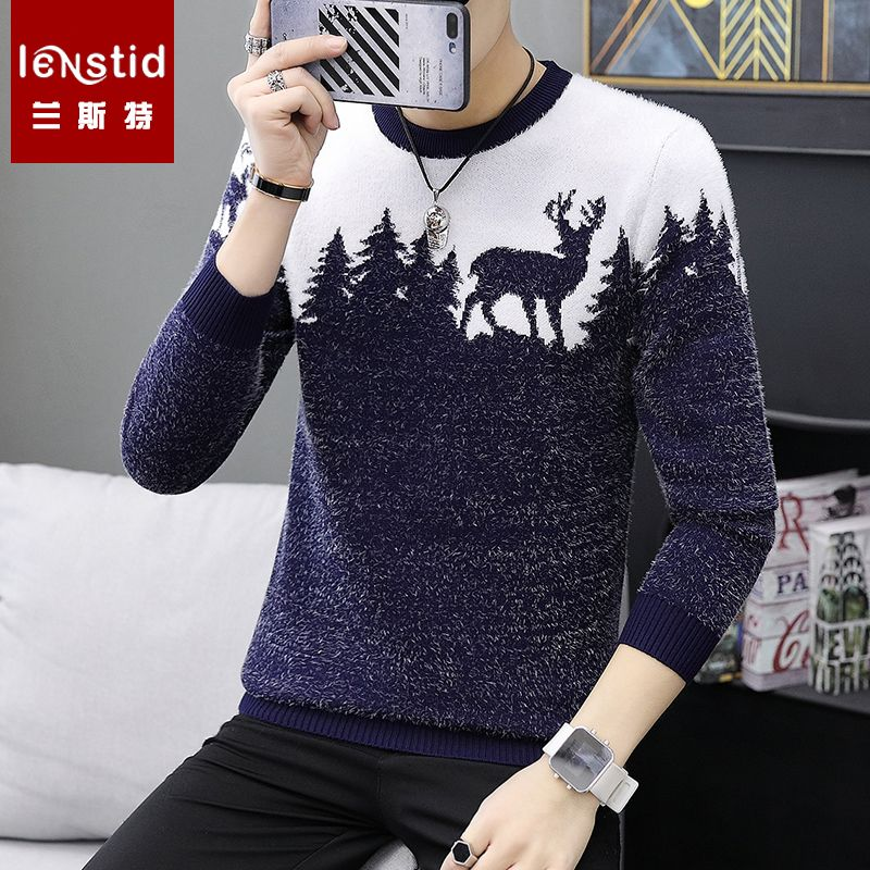 LENSTID 9 Styles 2018 Autumn Winter New Casual Sweater Men Pattern Knitted Pullovers Fashion Slim Fit Christmas Gift Male 6616#