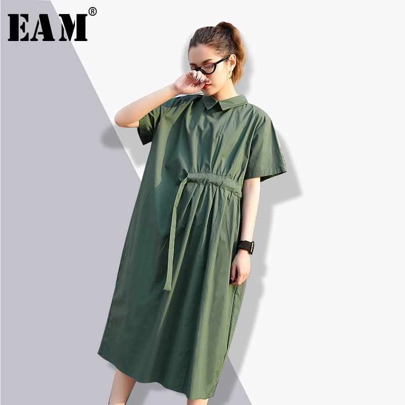[EAM] 2018 Summer Fashion New Loose One Side Drawstring Waist Short Sleeve Big Size Casual Tide Shirt Collar Dress Women YC30006