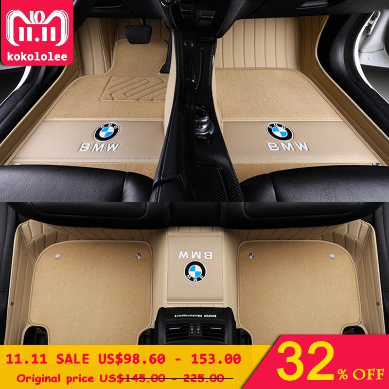 kokololee Custom Car floor mats for BMW 3 5 7 Series E46 E39 E90 E60 E36 F30 F10 F20 E30 E53 X1 X3 X4 X5 X6 G30 F10 F20 F30 F11
