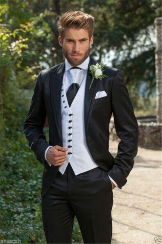 Trajes De Hombre elegante de Encargo Negro Smokinges Del Novio 2017 Hombres De La Boda Trajes de Negocios Los Hombres Trabajan Formal/Prom Wear (Coat + Pants + Vest + Tie)