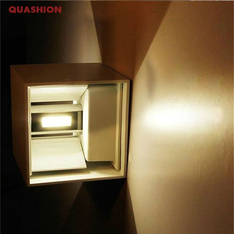 Waterproof 12W <font><b>indoor</b></font> outdoor Led Wall Lamp modern Aluminum Adjustable Surface Mounted Cube Led Garden Porch Light