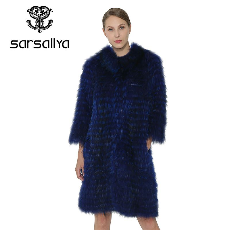 SARSALLYA Fox Fur Coat Real Fur Vest Long Coat Genuine Fur Vest Women Clothing Winter Natural Fox Fur Collar Outerwear