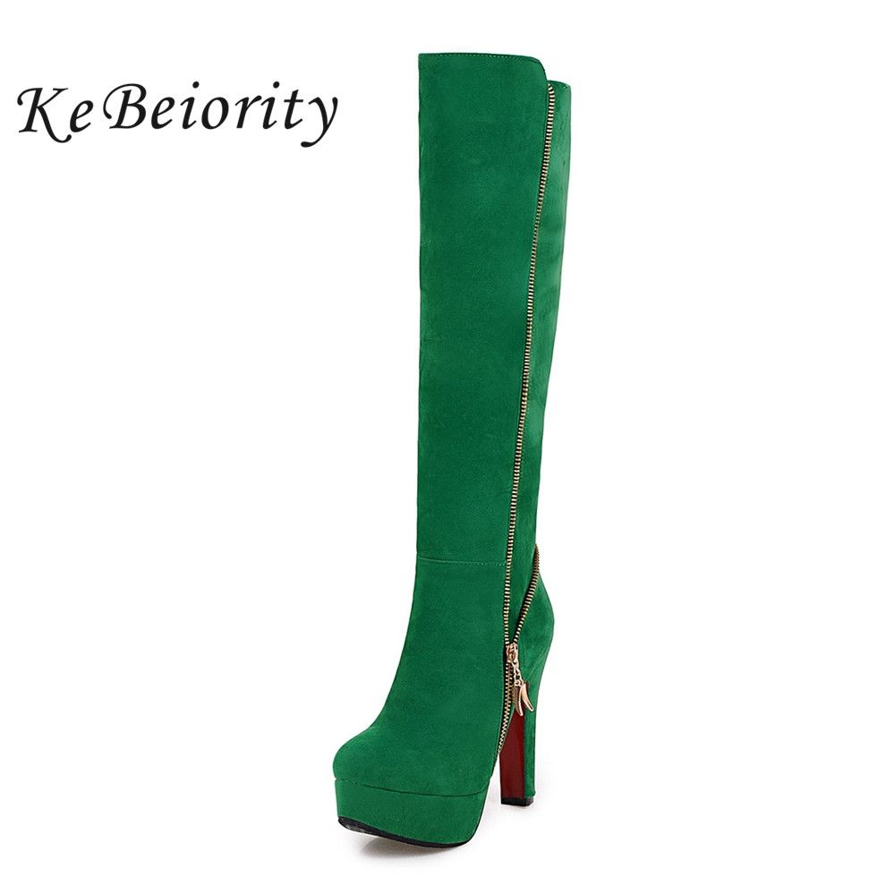 KEBEIORITY Platform Boots Women Autumn Shoes 2019 Red Green Knee High Boots High Heel Shoes Women Side Zipper Plus Size 33-47