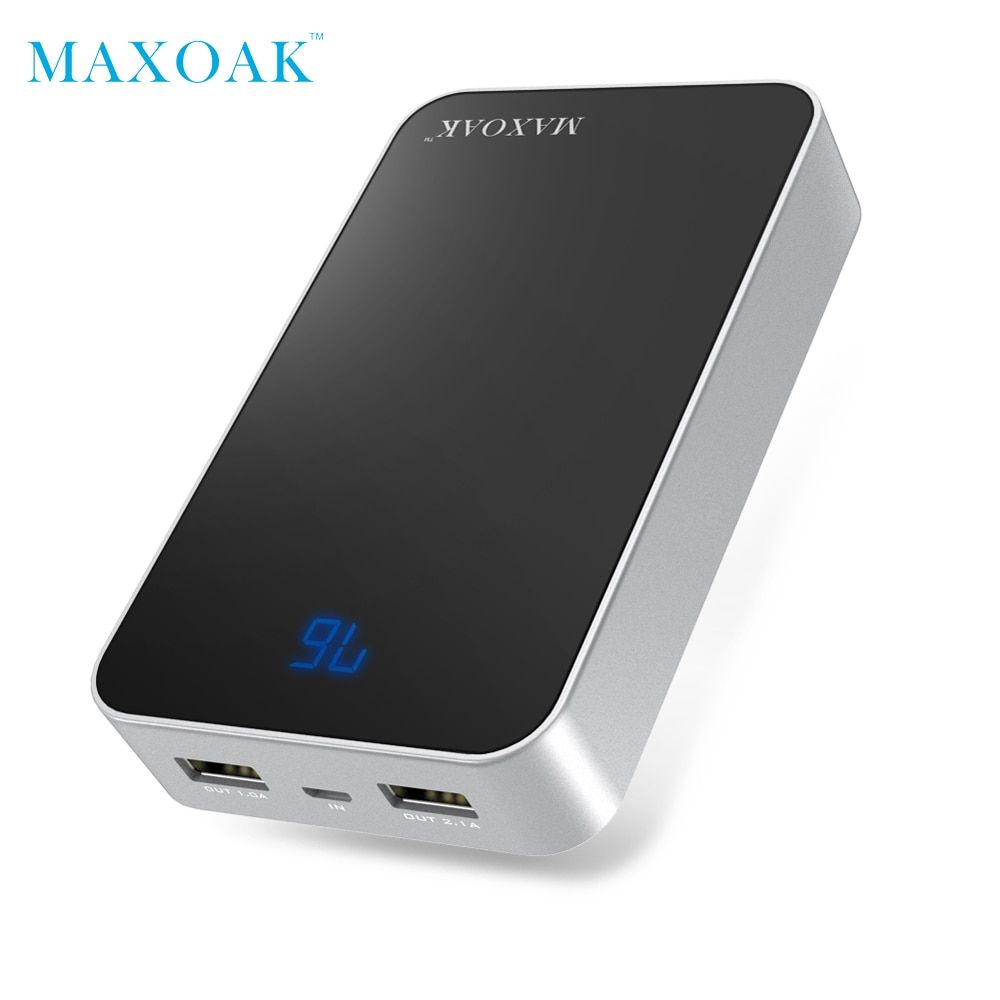 MAXOAK <font><b>13000mAh</b></font> 18650 power bank Dual USB best external battery and LCD display portable charging battery for phone and tablet