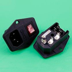 YuXi AC Power Cord Inlet Socket Receptacle Connector with Fuse Holder Rocker Switch IEC320 C14 CCC CEFor Audio DIY