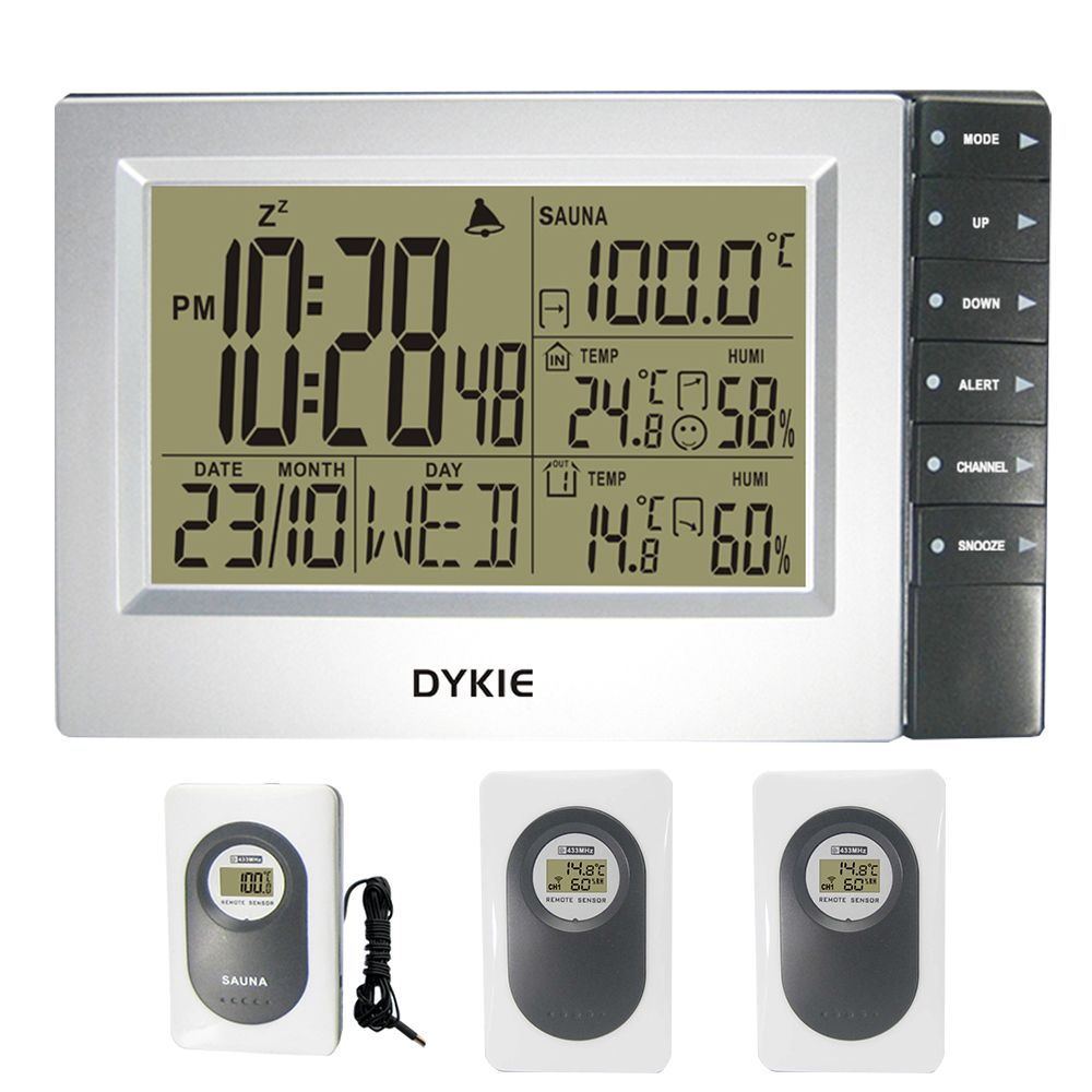 DYKIE Digitale Wetter Station Wireless mit Indoor Outdoor Hygrometer Sauna Temperatur Digitale Wecker 3 Sender