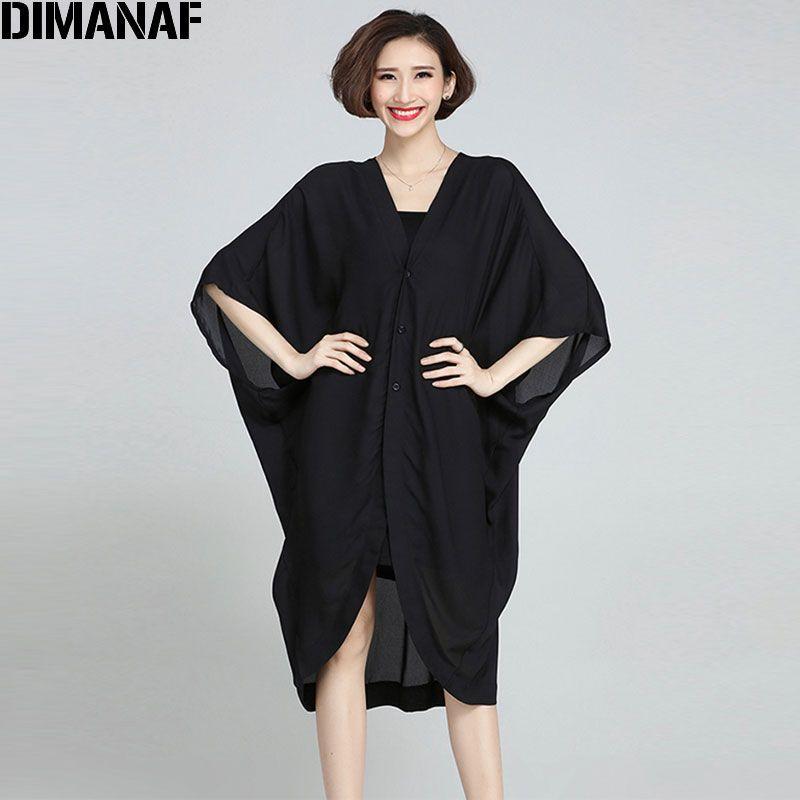 2017 New Women Blouse Chiffon Big Size Solid Summer Long Coat Fashion Casual Female V-Neck Black Cardigan Plus Size 5XL Clothes