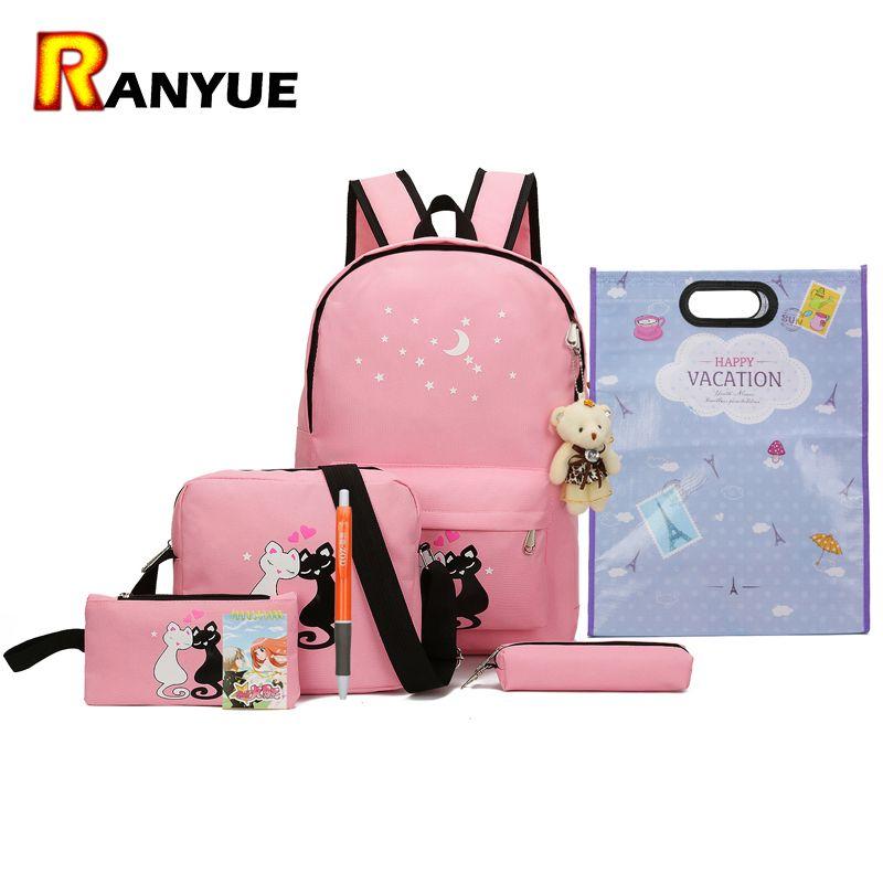 8 шт. милые животные звезда печати рюкзак Для женщин рюкзак Школьные ранцы для подростков Обувь для девочек рюкзак Школьный набор Для женщин...