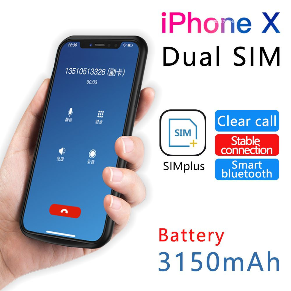 2018 für iPhone X/XS Ultradünne Gummi rahmen Dual SIM Dual Standby Bluetooth Adaper Lange Standby-7 tage mit 3150 mah Power Bank