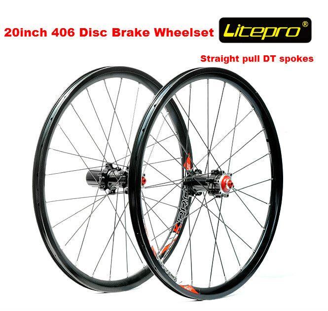 Litepro straight pull 20 inch 406 wheelset BMX folding bike disc brake wheel set 406 wheel set 100mm/135mm