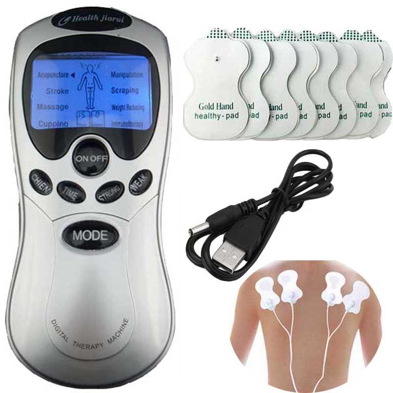 Des dizaines Acupuncture Bleu écran électronique Numérique Thérapie Machine Masseur Quatre fixation Electrod fil 8 tapis de soins de Santé de massage