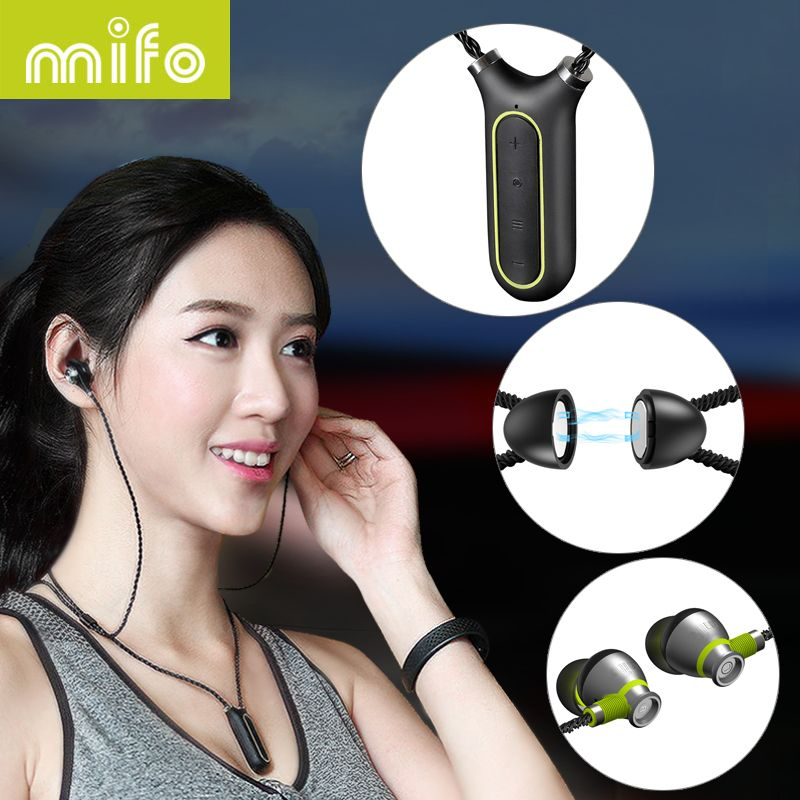 mifo i2 Necklace Wireless Earphone Sport Bluetooth Headset Waterproof Subwoofer Stereo Mp3 Player Neckband Earbuds Recording Pen