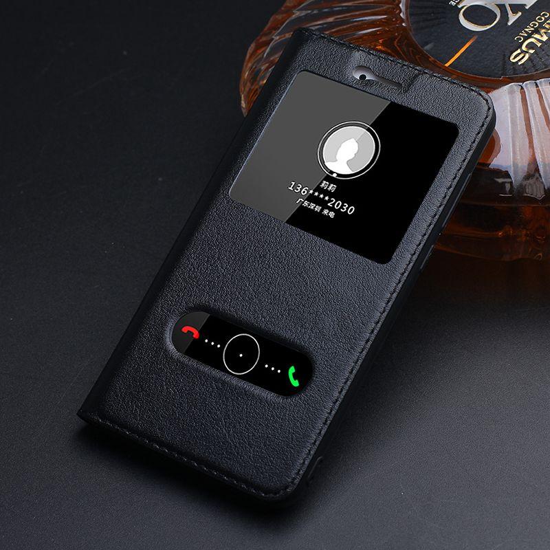Véritable étui En Cuir Pour huawei honor 8 lite avec Fenêtre couverture arrière 8 lite téléphone sacs de Marque de luxe conception